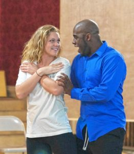 Ally Reardon (Kristen) and Silk Johnson (Eric) rehearse a scene from the upcoming Tiffany musical.